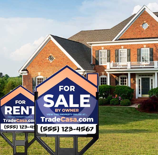TradeCasa For Sale By Owner Real Estate Signs in Front of Large House