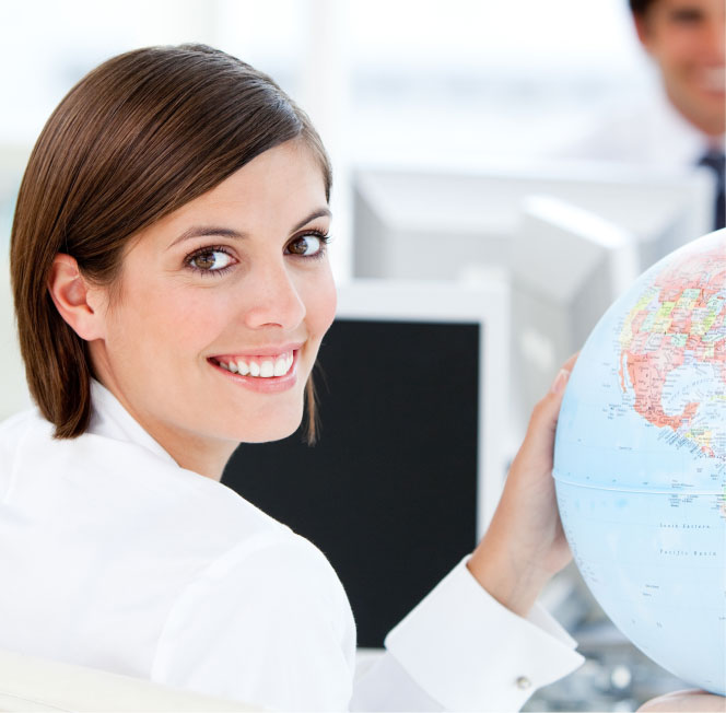 Woman with Globe of USA and Canada