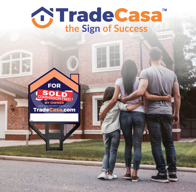 Family looking at their home for sale by owner sign in front of home