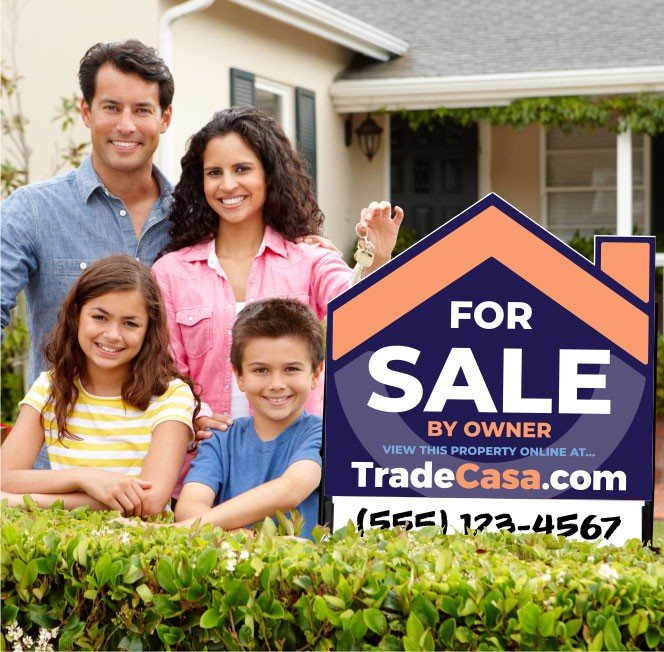 Family standing in front of property beside a sold for sale by owner real estate sign